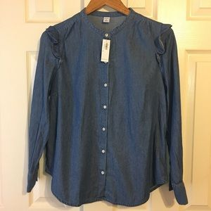 Old Navy Chambray Ruffle Button Down